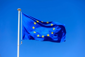 eu flag european union flag on a pole waving on P5QSR3A
